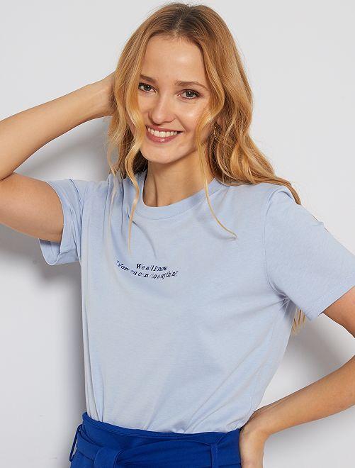 T-shirt à message brodé                                         bleu