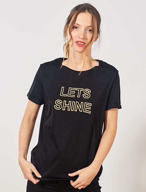 T-shirt à message brodé                             noir