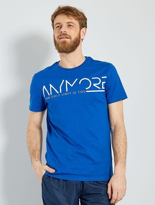 T-shirt à message coton biologique                                         bleu