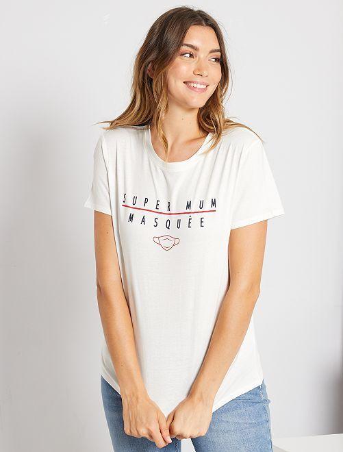 T-shirt à message éco-conçu                                                     blanc