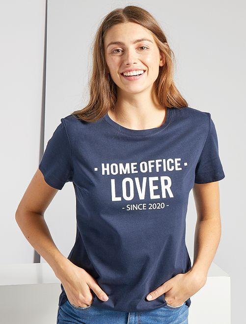 T-shirt à message éco-conçu                                                                 marine
