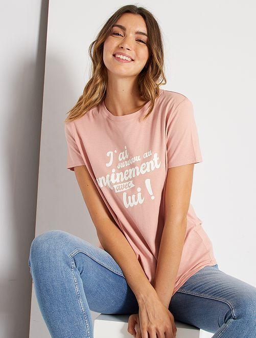 T-shirt à message éco-conçu                                                                 rose