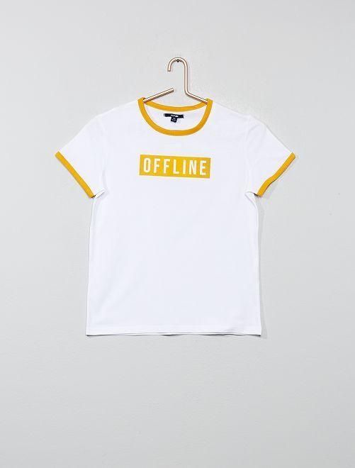 T-shirt à message en velours                                                                 blanc/jaune Fille adolescente