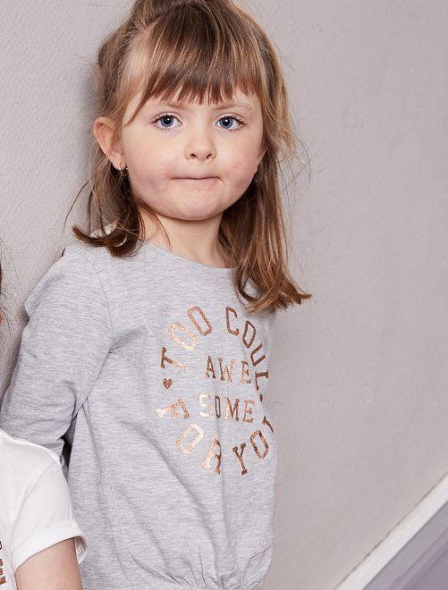 T-shirt à message                                         gris Fille