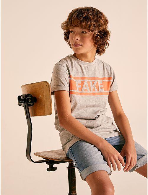 T-shirt à message                                                                 gris Garçon adolescent