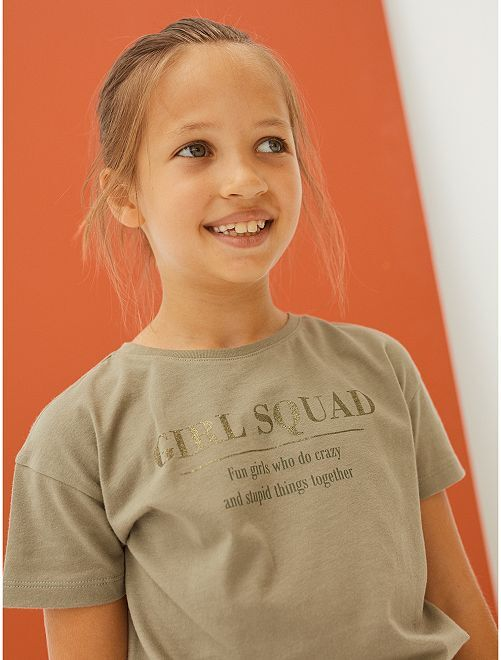 T-shirt à message                                                     KAKI