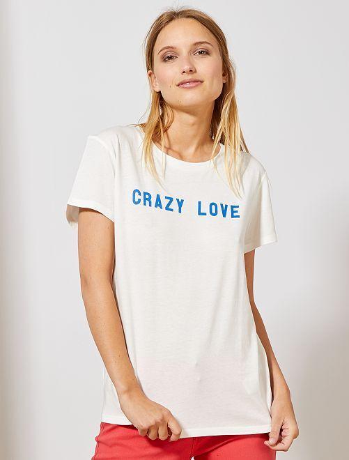 T-shirt à message positif                                                                                                                 blanc Femme