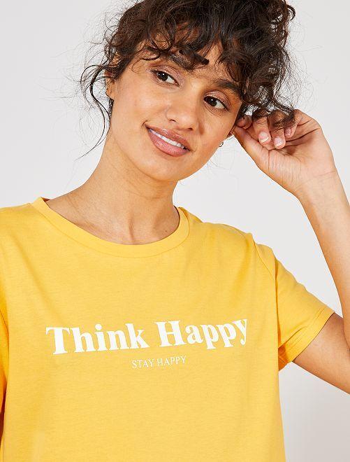 T-shirt à message positif                                                                     jaune Femme