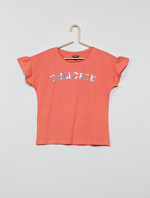 T-shirt à message                                                                 rose clair