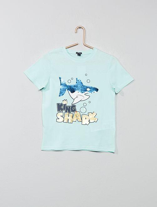 T-shirt à message sequins réversibles                                                                                         vert d'eau