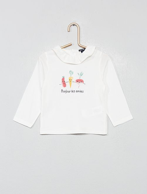 T-shirt à message volanté                                         blanc