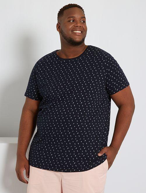 T-shirt à micro motif éco-conçu                                                     bleu marine