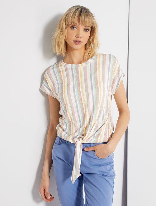 T-shirt à nouer à la base                                                                 blanc multicolore