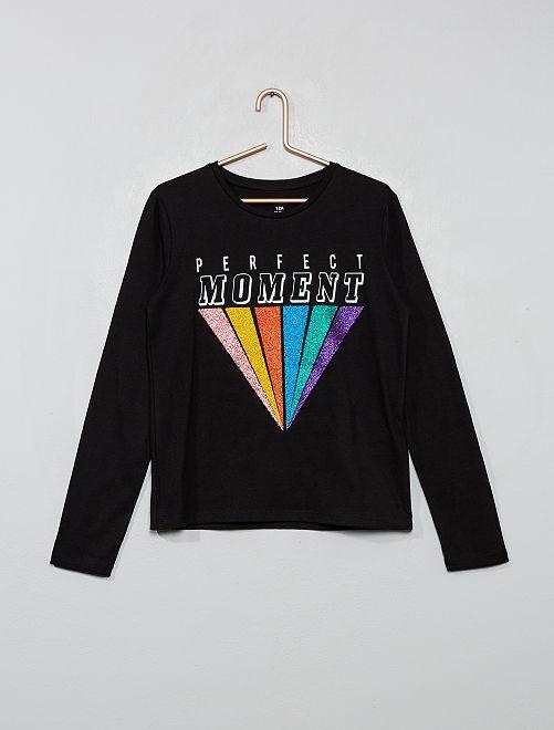 T-shirt à paillettes                                                     noir/perfect