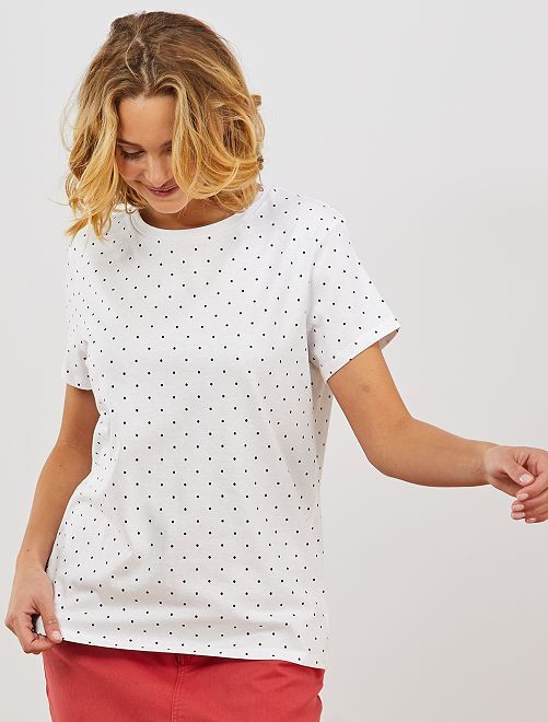 T-shirt à pois en coton bio                     blanc
