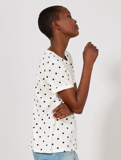 T-shirt à pois en pur coton                                                                                                                                                                                                                                                                                                                                                                 blanc à pois Femme
