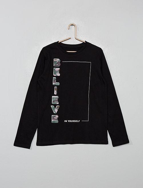 T-shirt à print                                                                                                     noir typo