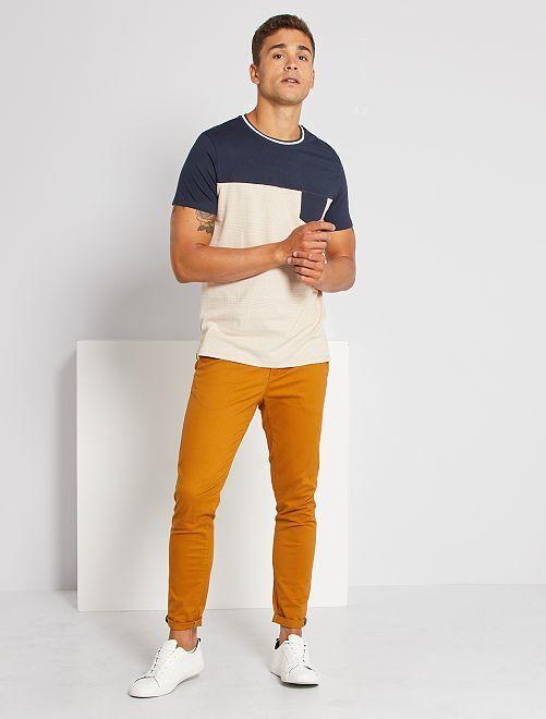 T-shirt à rayures                                         bleu/beige