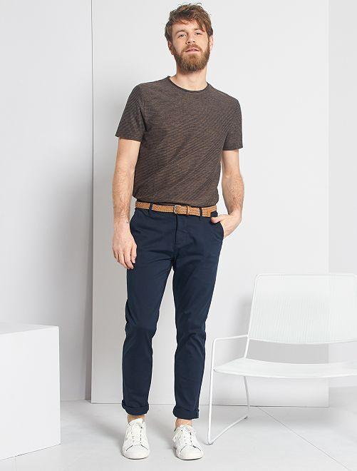 T-shirt à rayures texturées                             beige/bleu marine