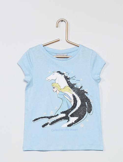 T-shirt à sequins 'La Reine des sequins'                             bleu