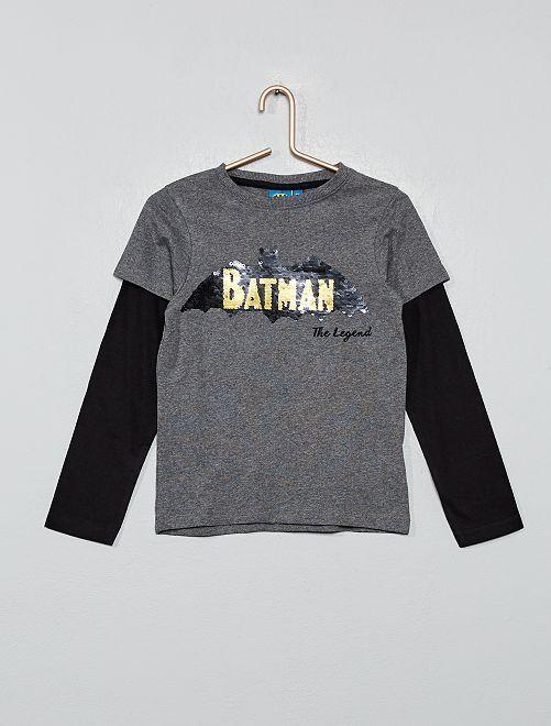 T-shirt à sequins réversibles 'Batman'                             gris noir