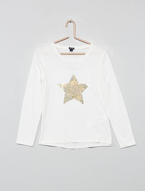 T-shirt à sequins réversibles                                                                 blanc Fille