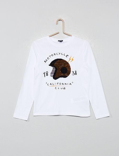 T-shirt à sequins réversibles                                                     blanc