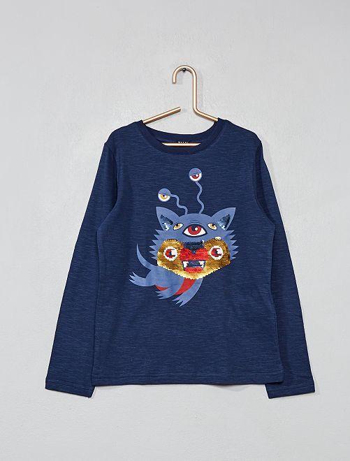 T-shirt à sequins réversibles                                                     bleu Garçon