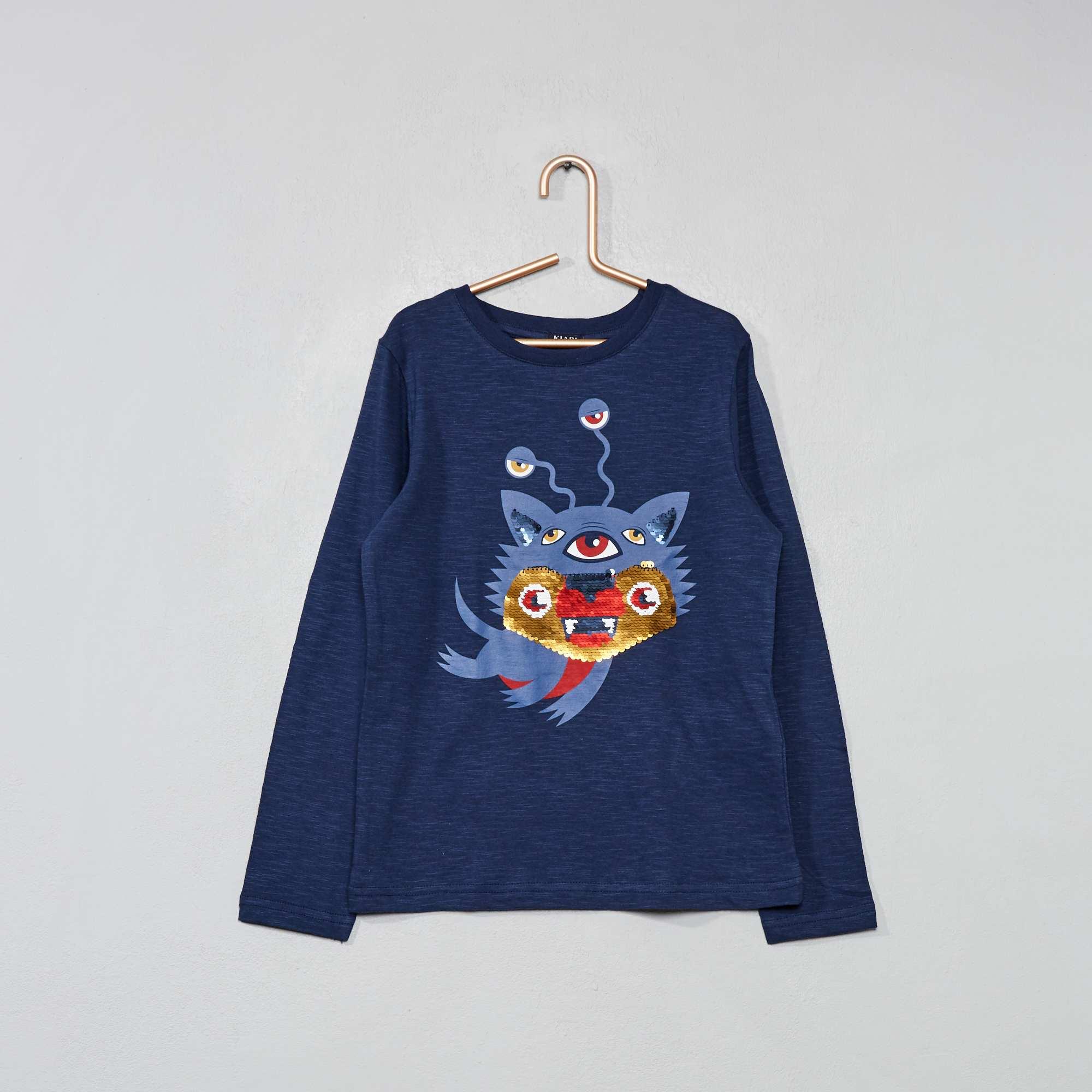 10f2a21aa5e7f T-shirt à sequins réversibles Garçon - bleu - Kiabi - 4