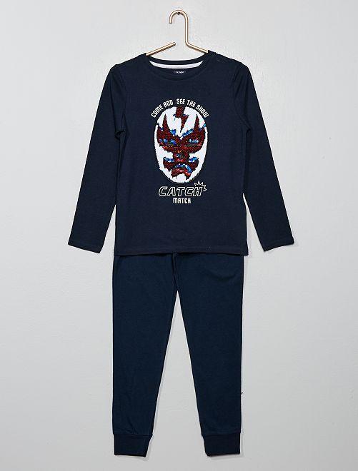 T-shirt à sequins réversibles                                                     bleu marine