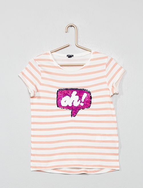 T-shirt à sequins réversibles 'bulle'                                                                 écru/rose rayé