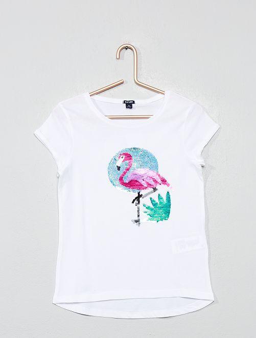 T-shirt à sequins réversibles 'flamant rose'                                                                 blanc Fille
