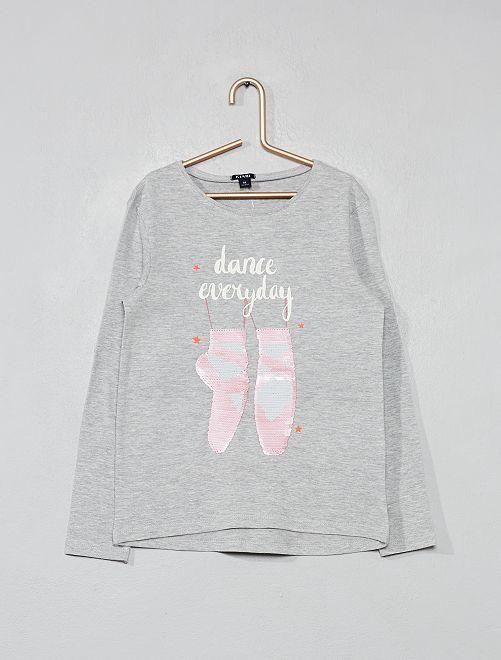 T-shirt à sequins réversibles                                             gris