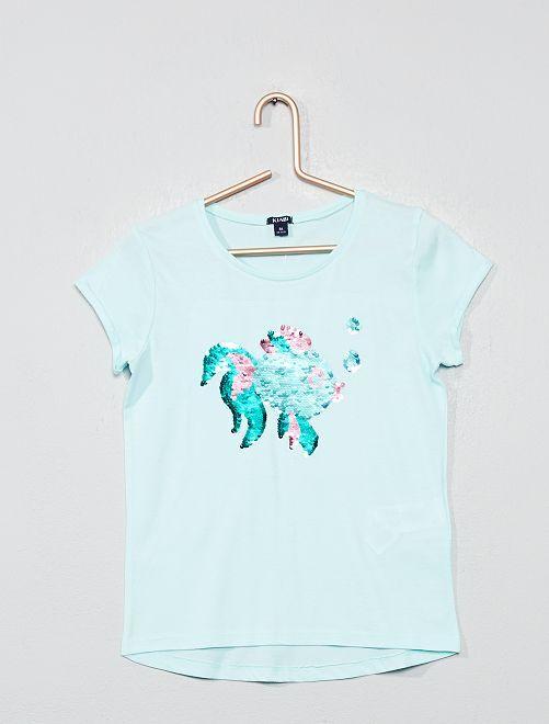 T-shirt à sequins réversibles 'poisson'                                                     vert d'eau