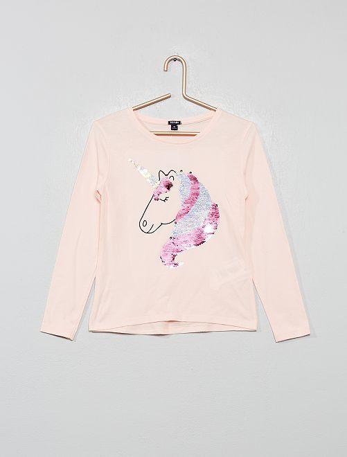 T-shirt à sequins réversibles                                                                 rose