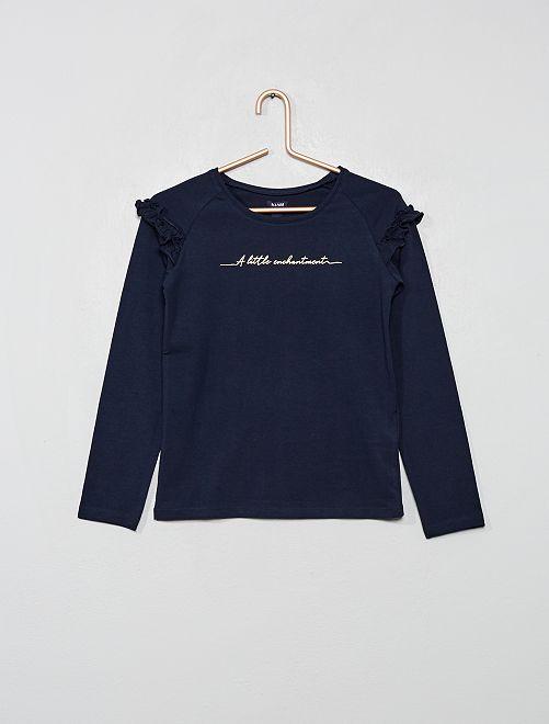 T-shirt à volants                                                     bleu