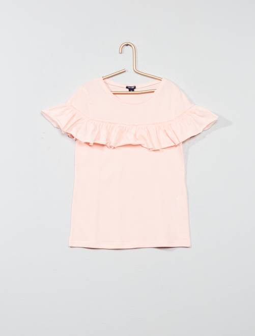 T-shirt à volants COTON BIO                     rose