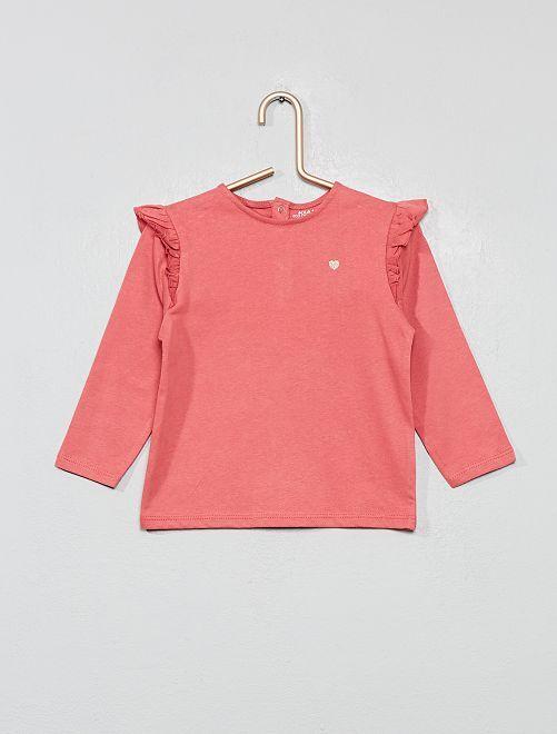 T-shirt à volants 'éco-conception'                                                                 rose foncé