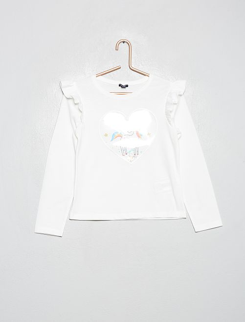 T-shirt à volants 'licorne'                                                                             blanc/licorne