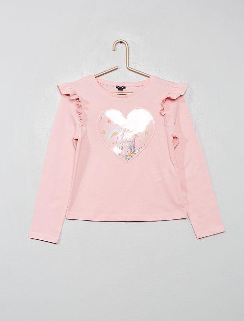 T-shirt à volants 'licorne'                                                                             rose/licorne