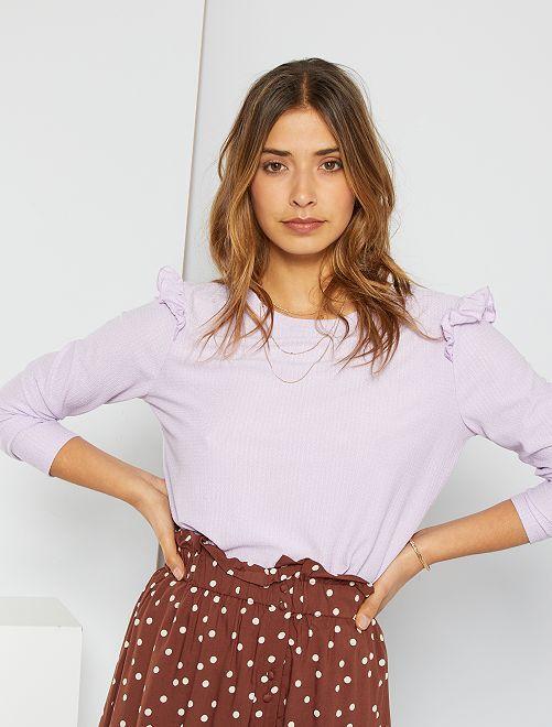 T-shirt à volants                             lilas