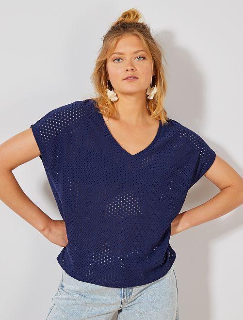 T-shirt ajouré fantaisie                                         bleu foncé Femme