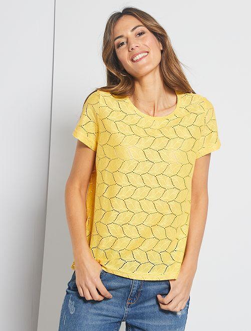 T-shirt ajouré 'Jacqueline de Yong'                                                     jaune