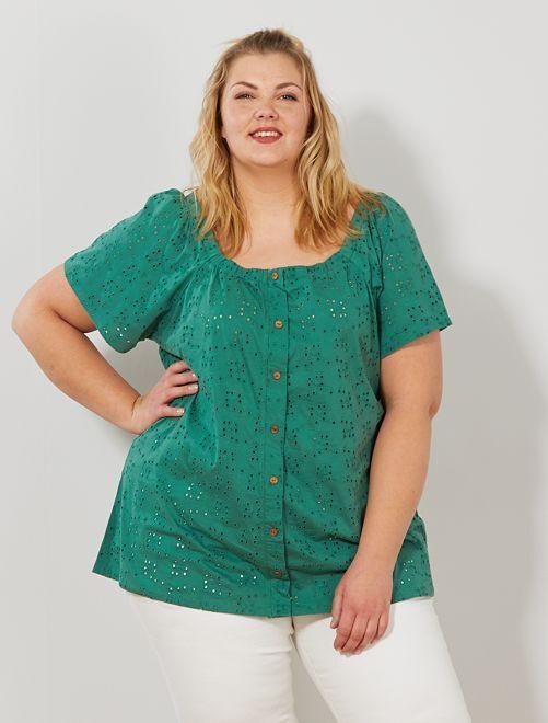 T-shirt ajouré manches papillon                     vert pin Grande taille femme