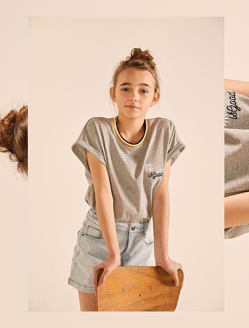 T-shirt ample brodé                                 gris chiné