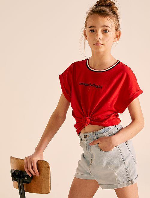 T-shirt ample brodé                                                                 rouge
