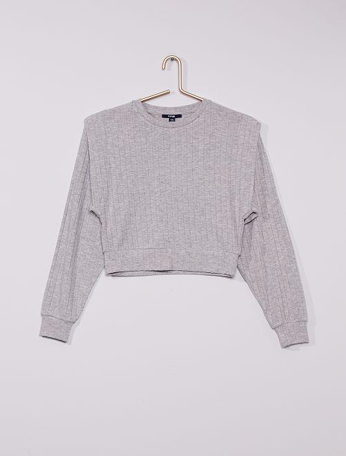 T-shirt ample en maille côtelée                             gris chiné
