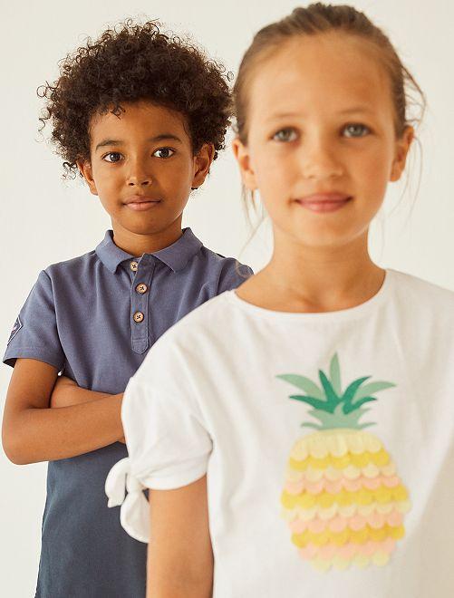 T-shirt 'ananas' manches nouées                                                     blanc