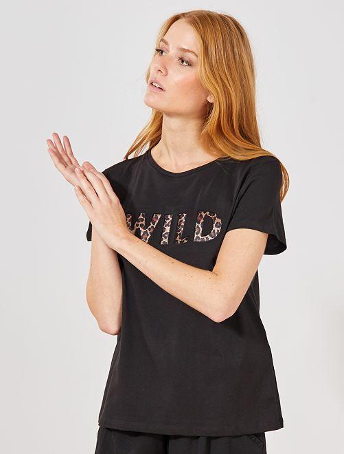 T-shirt animation léopard                             noir Femme