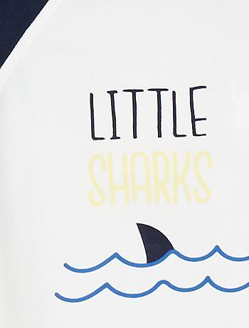 T-shirt anti-UV Bébé fille - blanc rayé -